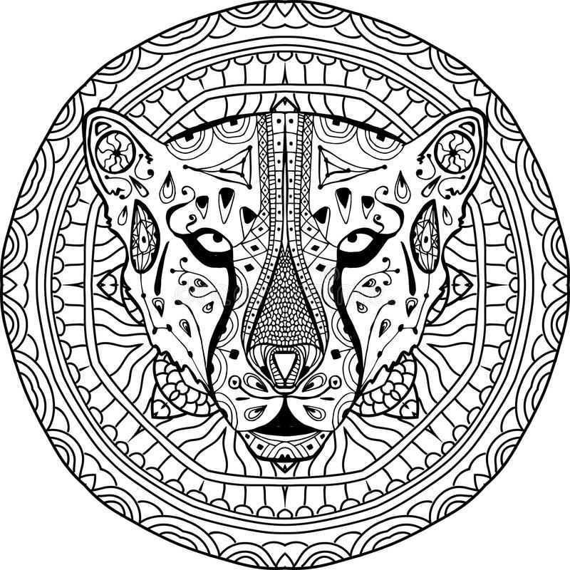 Element for your design. National ethnic circular pattern with the head of a Cheetah. Coloring page royalty free illustration