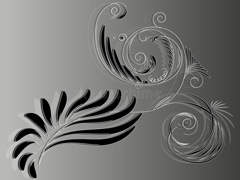 Elementair abstract zwart-wit bloemenornament voor ontwerp vector illustratie