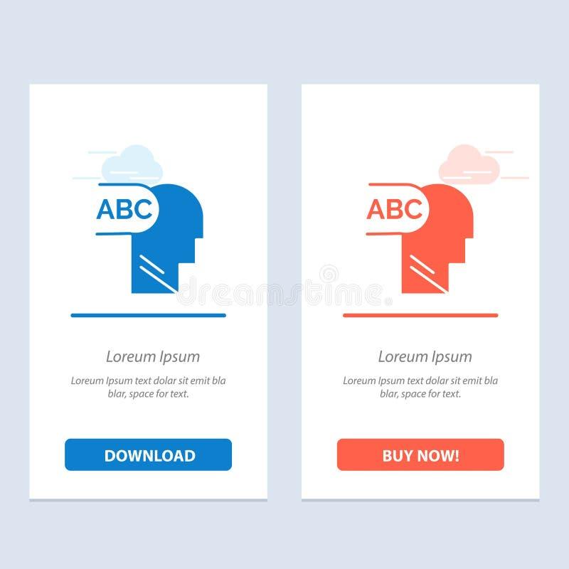 Elementair, Kennis, leid Blauwe en Rode Download en koop nu de Kaartmalplaatje van Webwidget royalty-vrije illustratie
