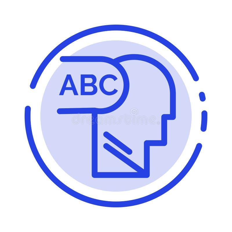 Elementair, Kennis, leid het Blauwe Pictogram van de Gestippelde Lijnlijn vector illustratie