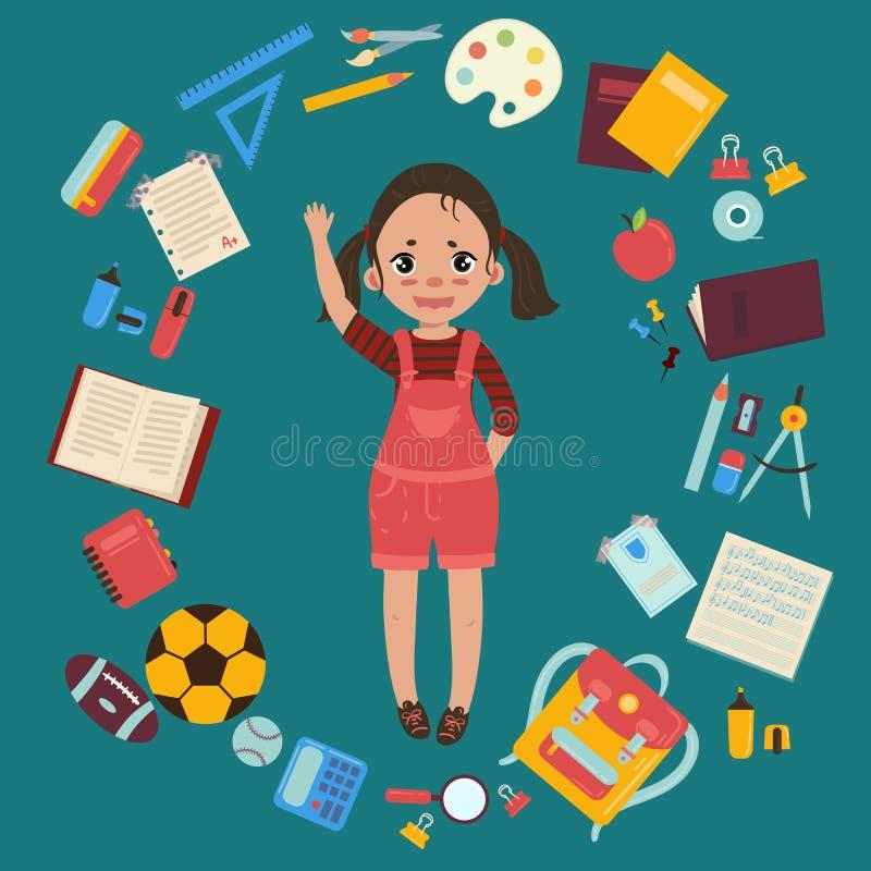 Elementair of lage schoolmeisje met levering royalty-vrije illustratie