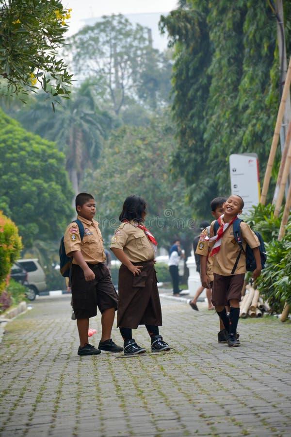 Elementaire Jongens en Meisjesverkenner Jakarta stock foto