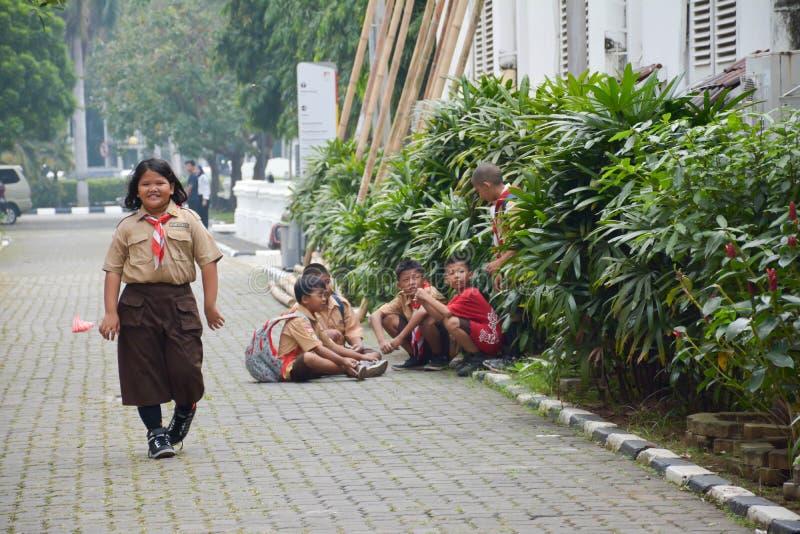 Elementaire Jongens en Meisjesverkenner Jakarta stock afbeelding