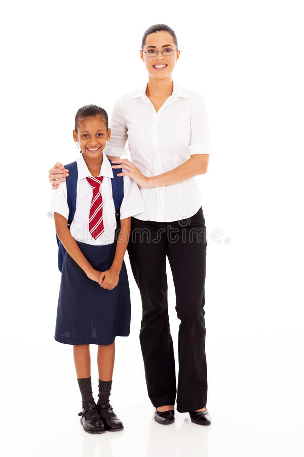 Elementaire schoolmeisjeleraar stock afbeelding