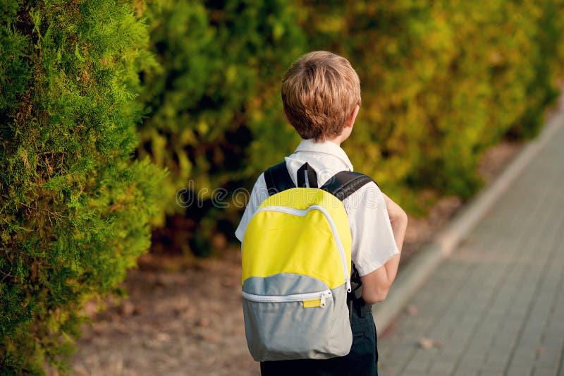 Elementaire student Weinig 7 jaar oude jongens met rugzak die naar school gaan stock foto