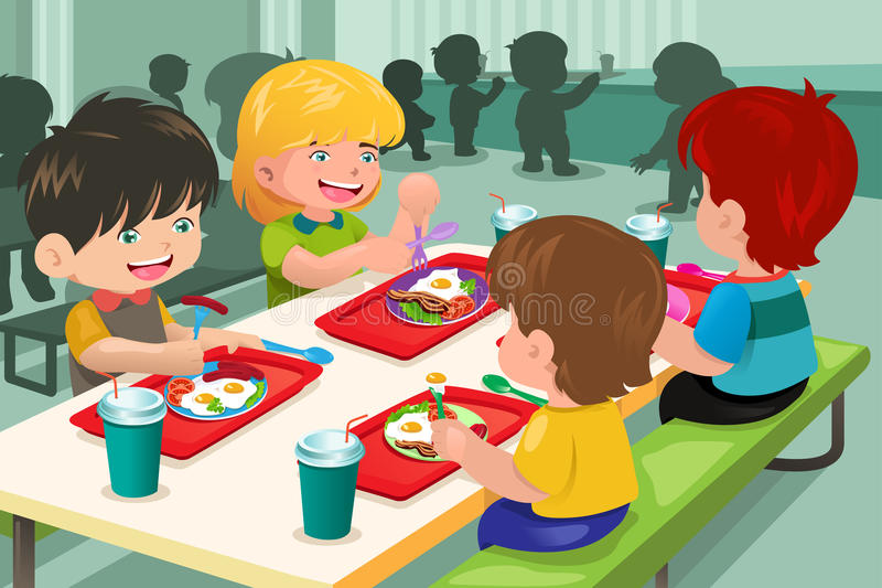 Elementaire studenten die lunch in cafetaria eten stock illustratie