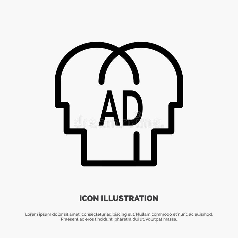 Elemental, conocimiento, ABC, Brian Line Icon Vector ilustración del vector