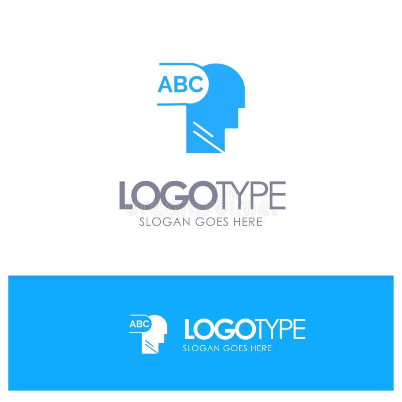 Elemental, conocimiento, logotipo sólido azul principal con el lugar para el tagline stock de ilustración