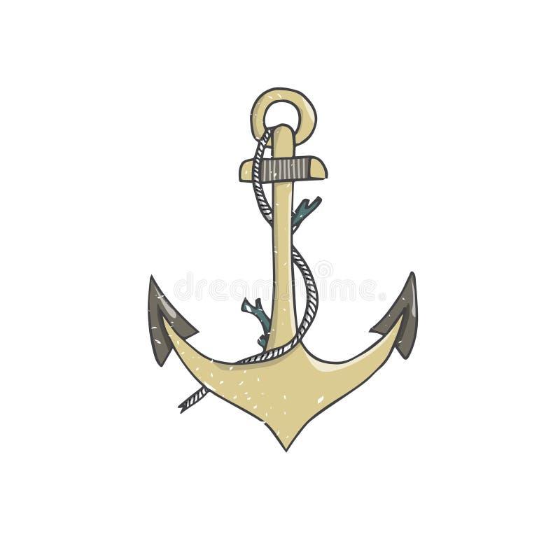 Elementarmaturnozeanschiffsboot Matrosov Roger der Ankerillustrationsvektorseilfarbgelbbeschaffenheit geometrischer ` s Anker Mat stock abbildung