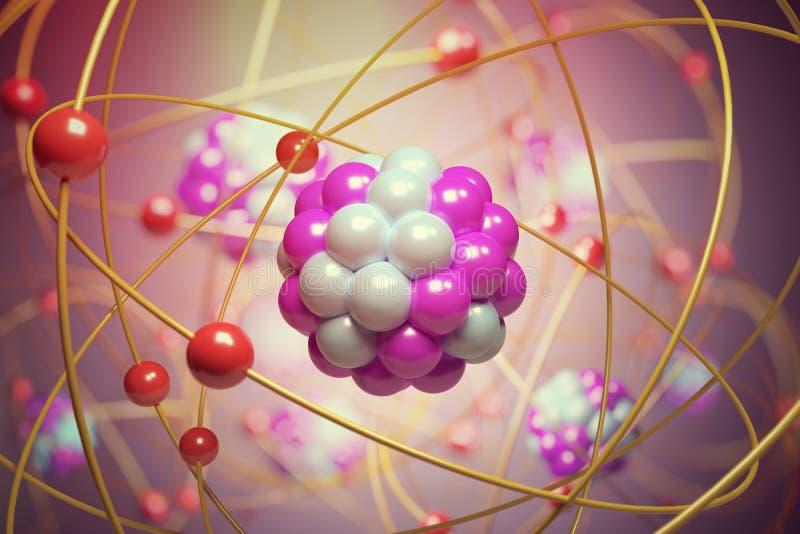 Elementarpartiklar i atom Fysikbegrepp framförd illustration 3d royaltyfri illustrationer