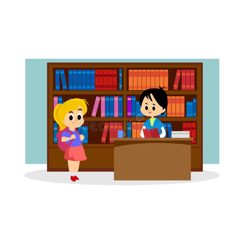 Elementary education, students in library with bookshelf, back to school lifestyle concept stock illustration