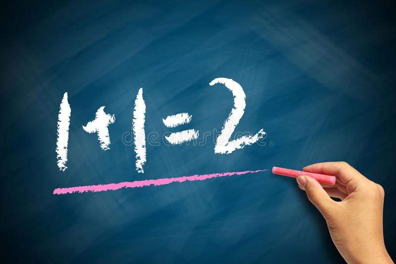 Elementary Math. Concept shot of a Blackboard with the text 1+1=2 royalty free stock photos