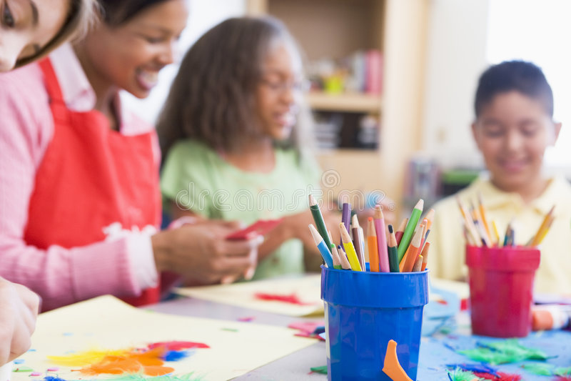 Elementary school art class. Selective focus royalty free stock image