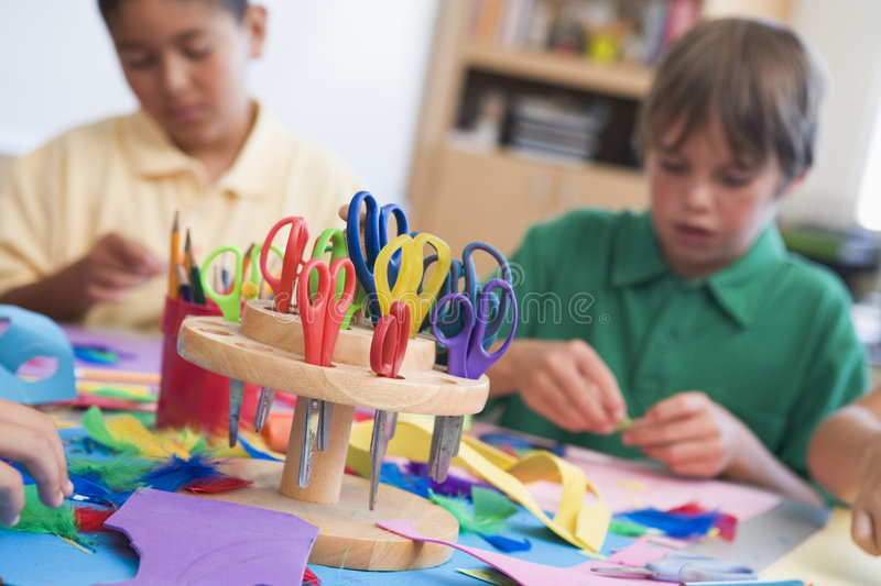Elementary school art class. With pupils royalty free stock image