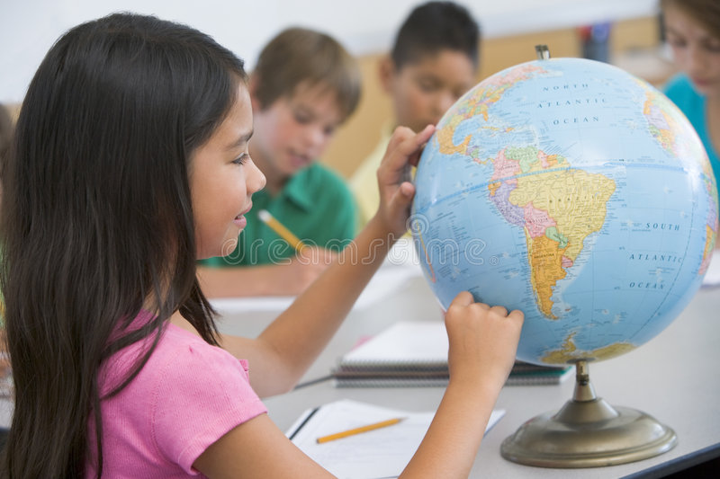 Elementary school geography class stock image