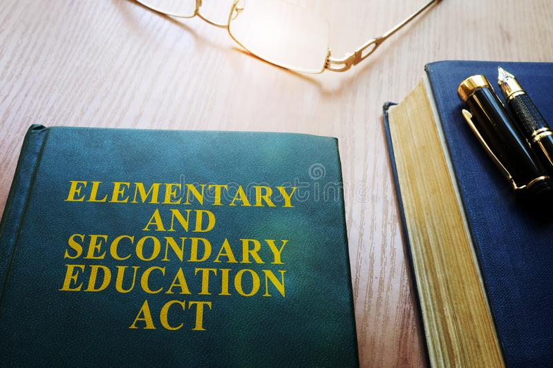 Elementary and Secondary Education Act ESEA on a desk. stock images