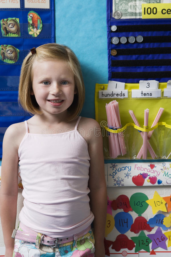 Elementary Student In Classroom royalty free stock images
