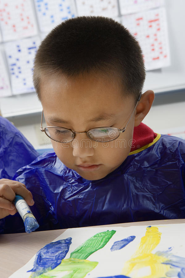 Elementary Student Painting stock photos