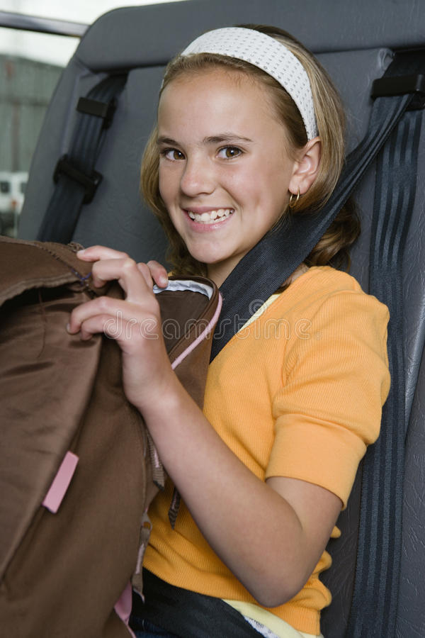 Elementary Student On School Bus stock photography