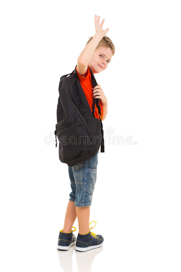 Elementary student waving stock images