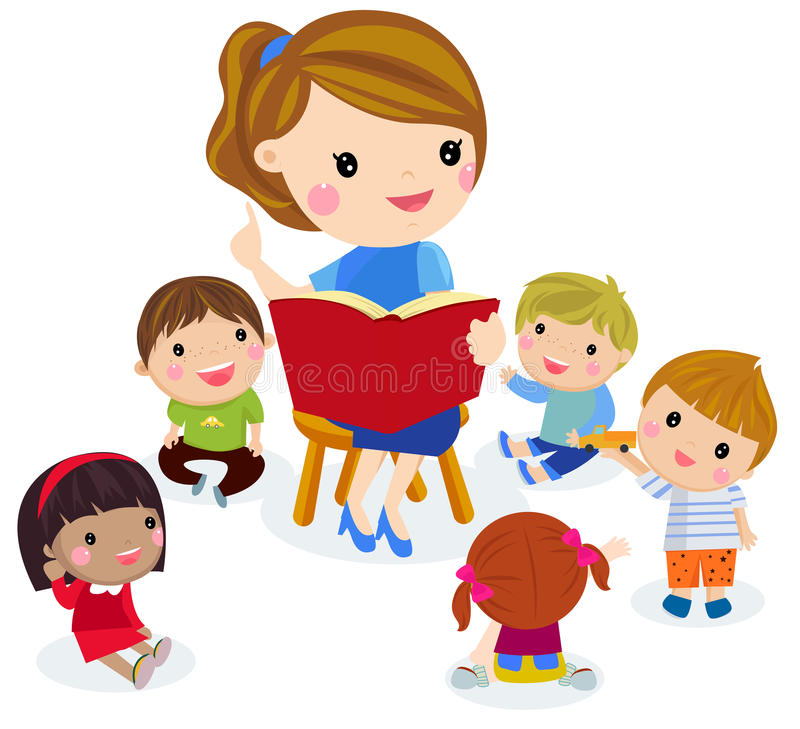Elementary teacher having a class with group of children. stock illustration