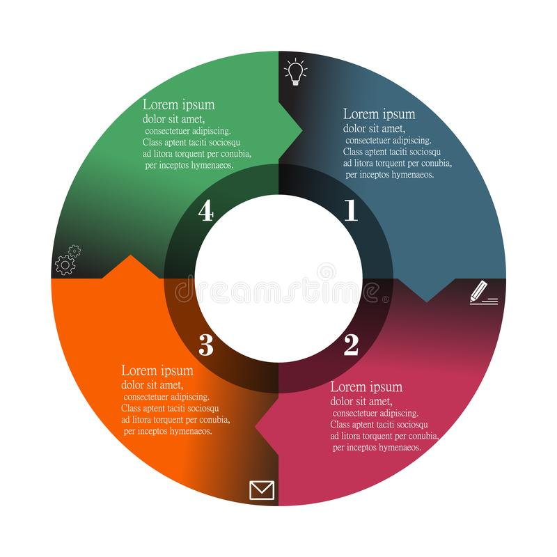 Elementdatensichtbarmachungsvektor-Kreisfarbe Infographic grafische moderne lokalisiert auf weißem Hintergrund vektor abbildung