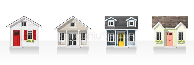 Elemente der Architektur mit den kleinen Häusern lokalisiert auf weißem Hintergrund stock abbildung