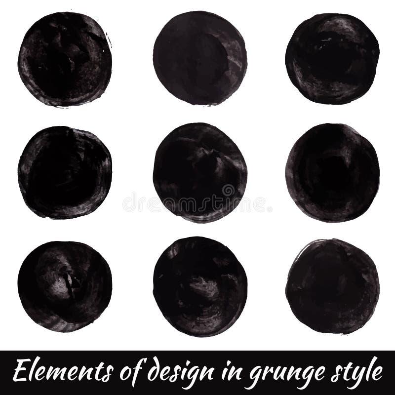 Elemente des Entwurfs in der Schmutzart Vektorfarbenkreise lizenzfreie abbildung