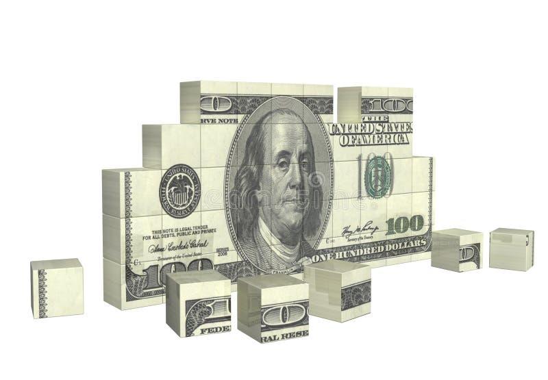Elemente des Puzzlespiels mit Banknote des Dollars vektor abbildung