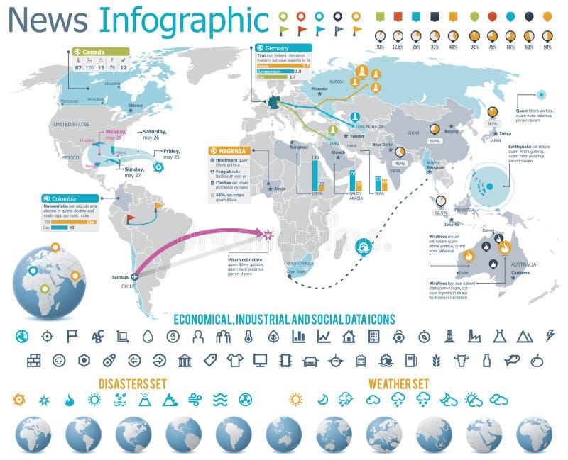 Elemente für die Nachrichten infographic mit Karte stock abbildung