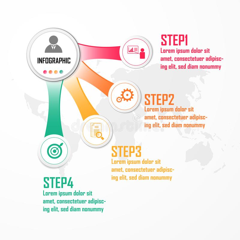 Elemente für infographic Vektor Konzept des Entwurfes mit 4 Wahlen, Teilen, Schritten oder Prozessen, Schablone für Diagramm, Dia lizenzfreie abbildung