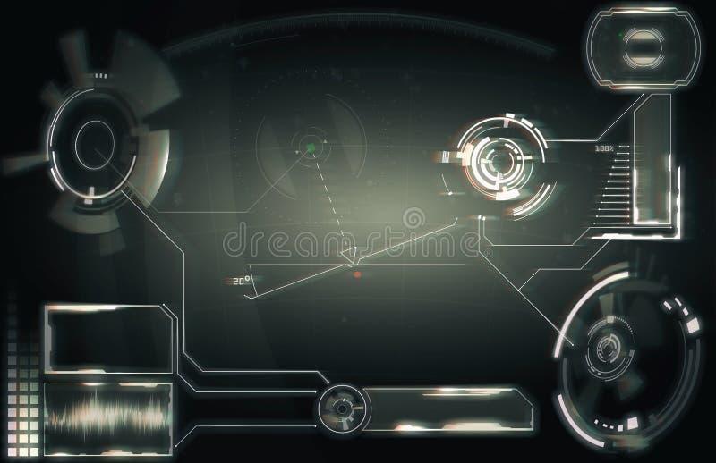 Elemente f?r HUD-Schnittstelle Abbildung f?r Ihre Auslegung Telefon mit Planetenerde und bin?rem Code Futuristische Benutzerschni lizenzfreies stockfoto