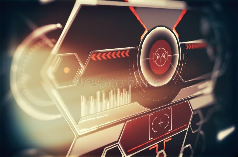 Elemente f?r HUD-Schnittstelle Abbildung f?r Ihre Auslegung Telefon mit Planetenerde und bin?rem Code Futuristische Benutzerschni stockfotos