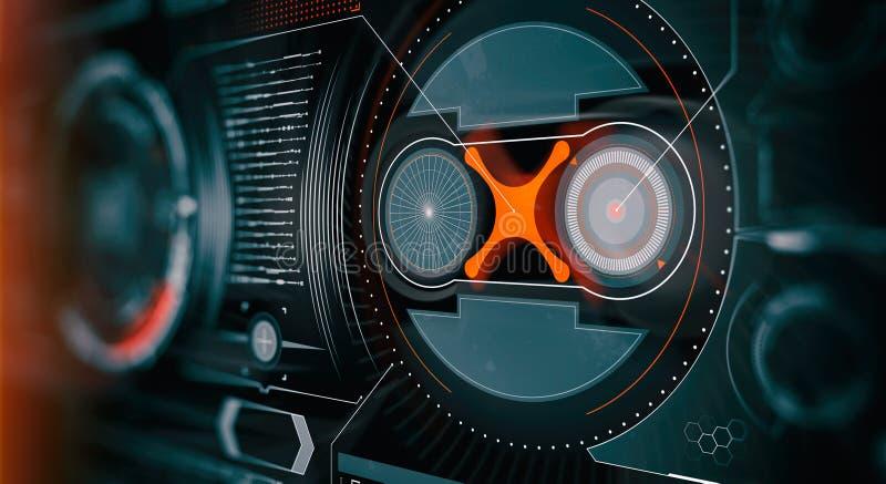 Elemente f?r HUD-Schnittstelle Abbildung f?r Ihre Auslegung Telefon mit Planetenerde und bin?rem Code Futuristische Benutzerschni stockfotografie