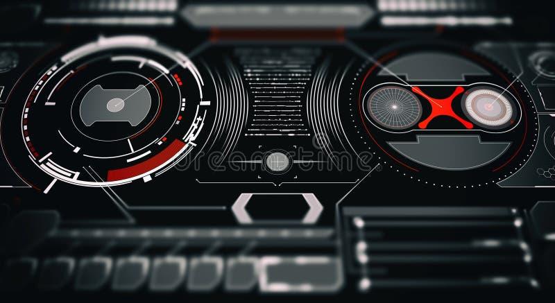 Elemente f?r HUD-Schnittstelle Abbildung f?r Ihre Auslegung Telefon mit Planetenerde und bin?rem Code Futuristische Benutzerschni lizenzfreies stockbild