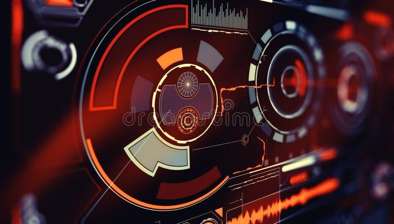Elemente f?r HUD-Schnittstelle Abbildung f?r Ihre Auslegung Telefon mit Planetenerde und bin?rem Code Futuristische Benutzerschni lizenzfreie stockfotos