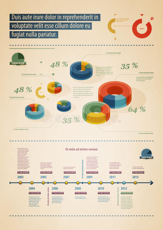 Elemente von infographics in Retro-