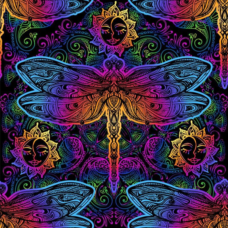 Elemente von Paisley, von Lotus und von Karpfen Koi lizenzfreie abbildung