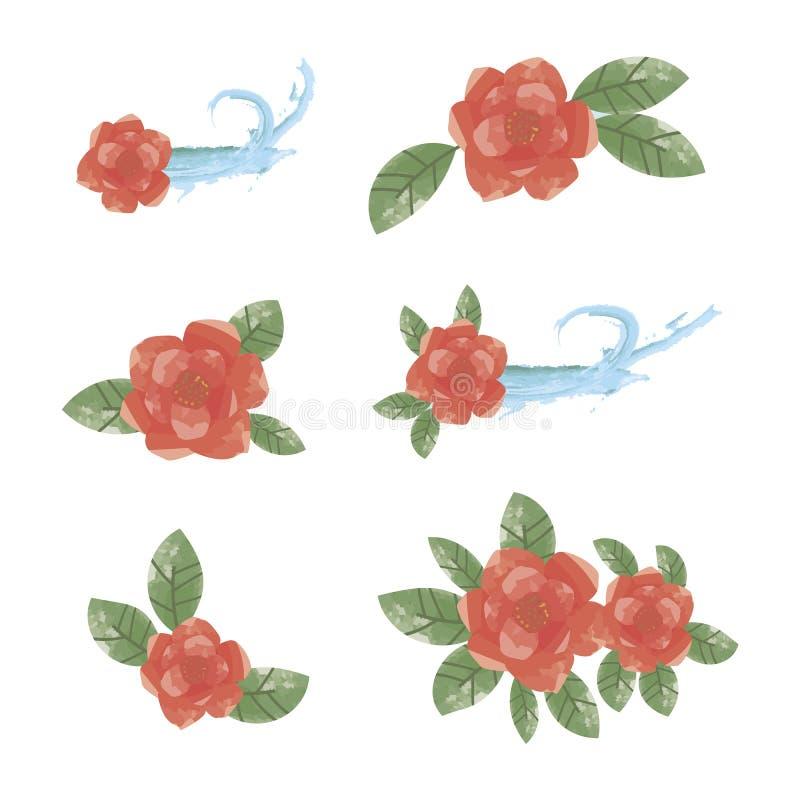 Elemente von roten Blumen mit grünen Blättern des blauen Wassers stock abbildung