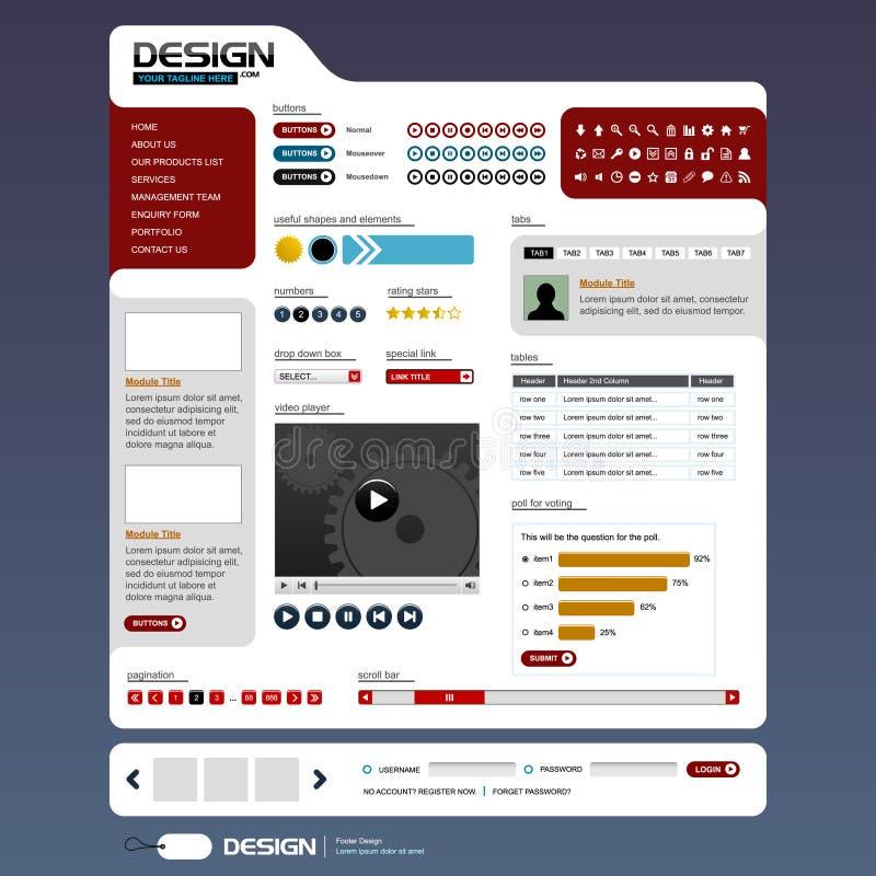 Elementen 6 van het Ontwerp van het Web (Helder Thema) Vector stock illustratie
