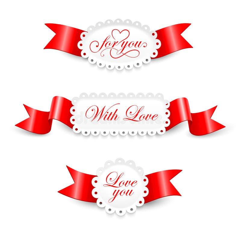 Elementen aan de Dag van Valentijnskaarten royalty-vrije illustratie