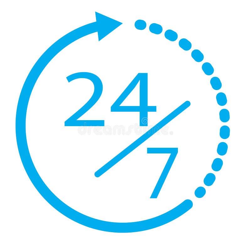 24/7 elementen 24 uur per dag en 7 dagen per week open pictogram Vlakke I stock illustratie