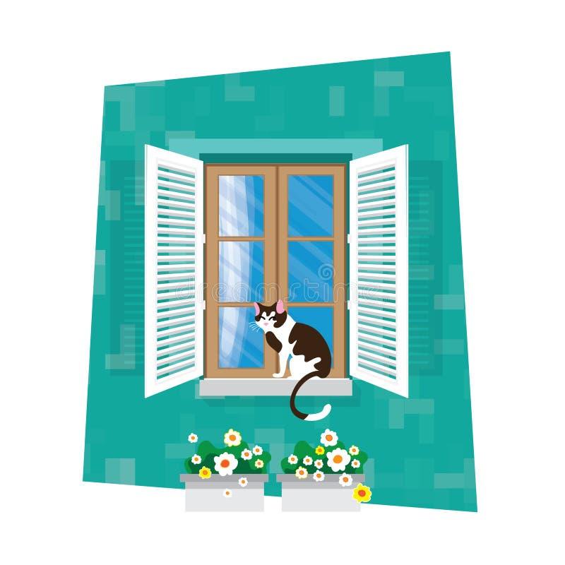 Elementen van architectuur - venster Vlakke stijl Voor binnenlands en buitengebruik gordijn Bloem CatbVector royalty-vrije illustratie