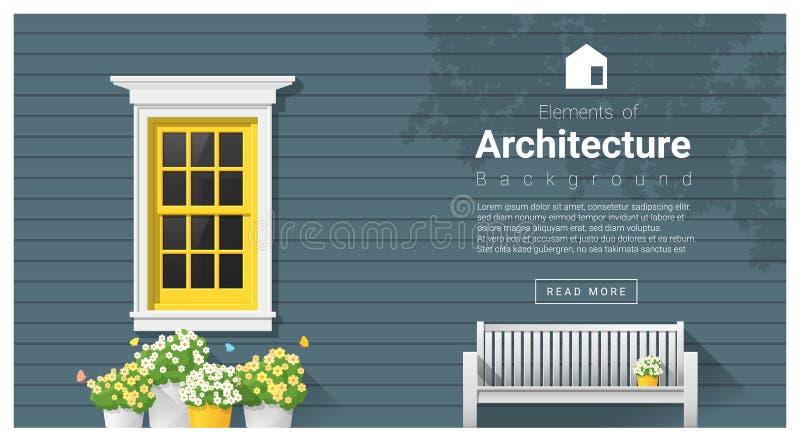 Elementen van architectuur, vensterachtergrond royalty-vrije illustratie
