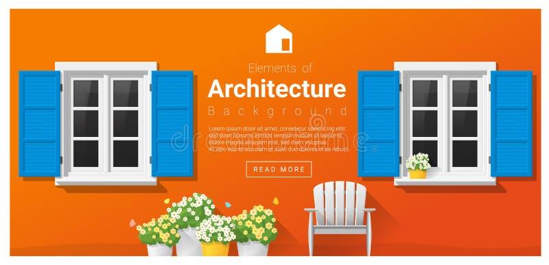 Elementen van architectuur, vensterachtergrond vector illustratie
