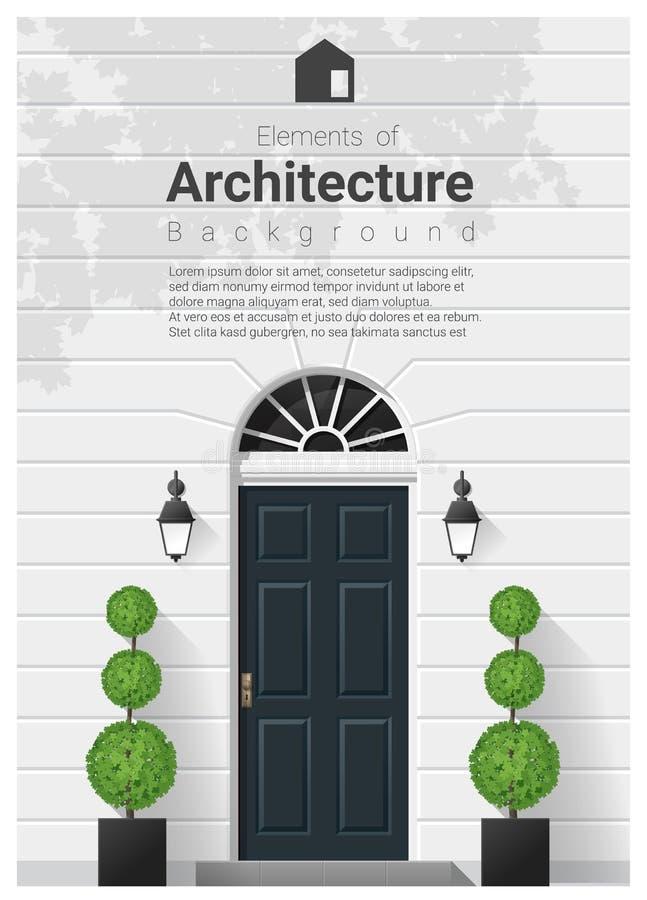 Elementen van architectuur, voordeurachtergrond stock illustratie