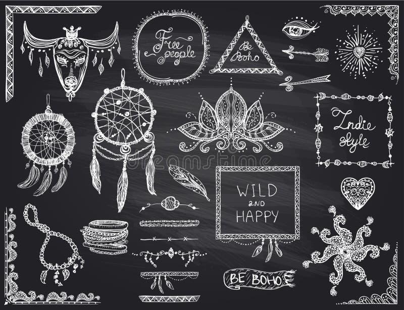 Elementen van de bord de hand getrokken die schets in bohostijl, hippie, indie stijl, droomvanger, halsband en armbanden, kaders  royalty-vrije illustratie
