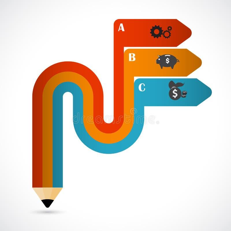 Elementen van de potlood de moderne minimale pijl voor bedrijfsinfographics royalty-vrije illustratie