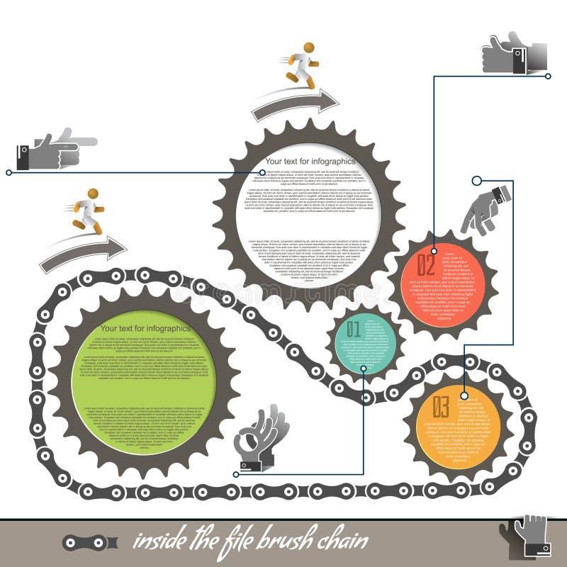Elementen van de tand van de infographicsfiets, royalty-vrije illustratie