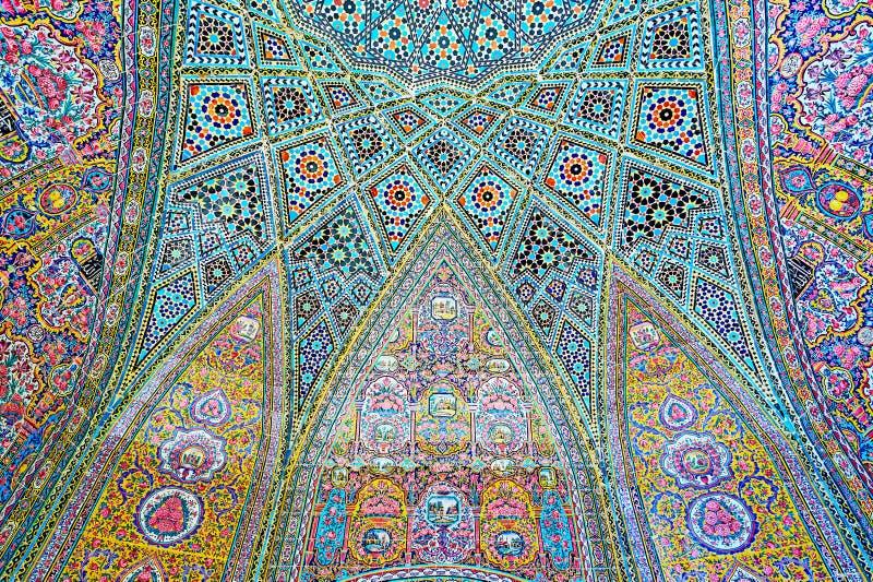 Elementen van decor van Nasir Ol-Molk-moskee, Shiraz, Iran royalty-vrije stock foto